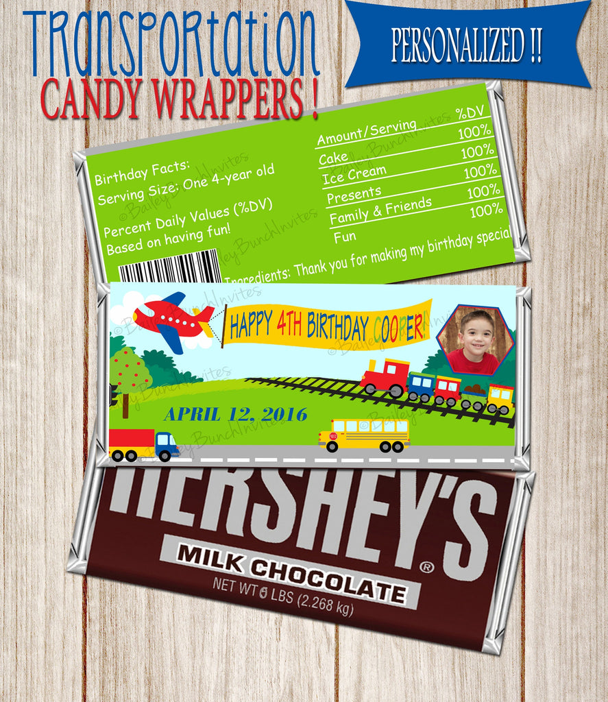 Transportation Candy Wrappers - Party Favors TRUCKCND0520