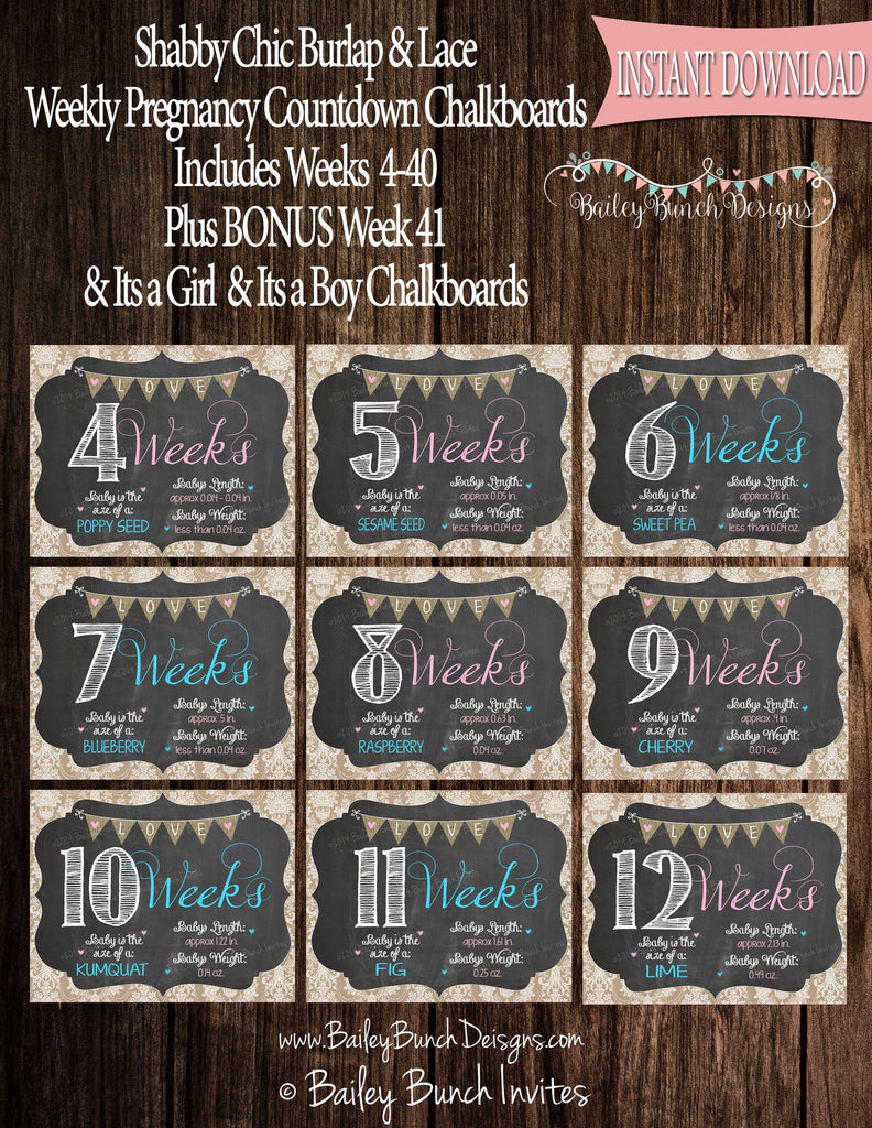 Shabby Chic Weekly Pregnancy Chalkboard, Pregnancy Countdown DOWNLOAD IDSHABPREGWK0520