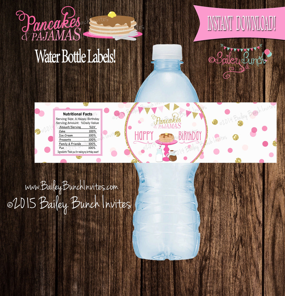 Pancakes & Pajamas Water Bottle Labels Wrappers, Favors, INSTANT DOWNLOAD IDPCAKEWATER0520