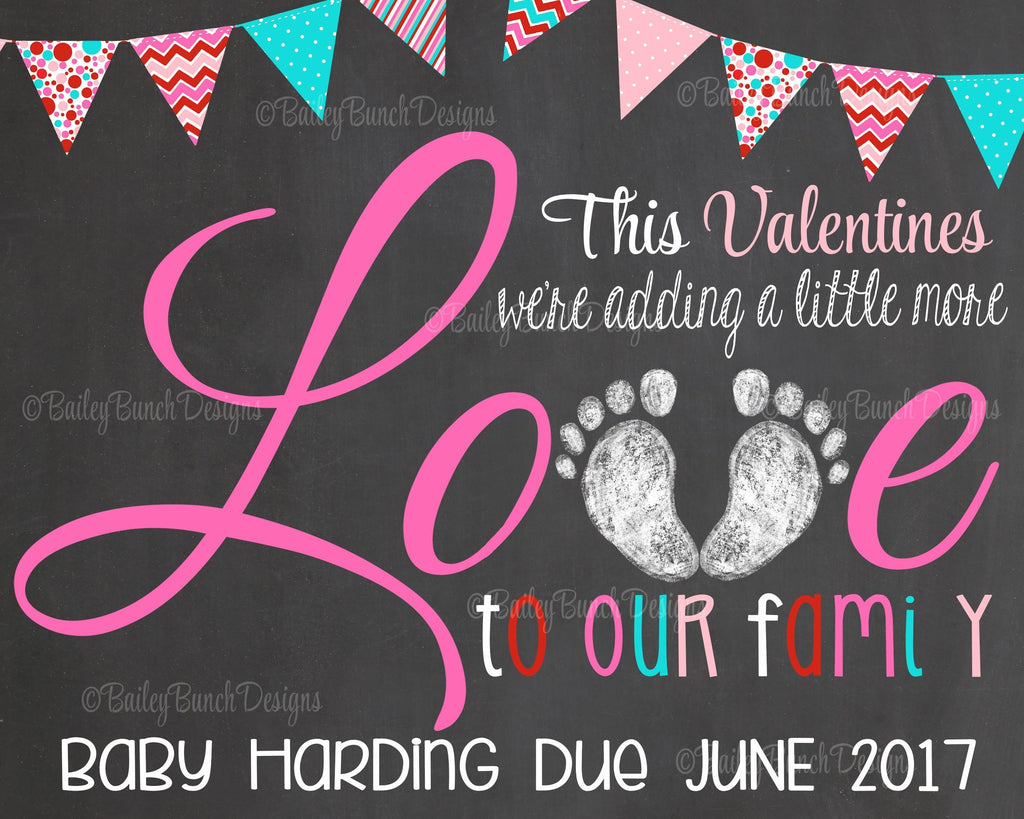 Pregnancy Reveal Announcement Chalkboard Sign, Valentine Pregnancy VLOVEP0520