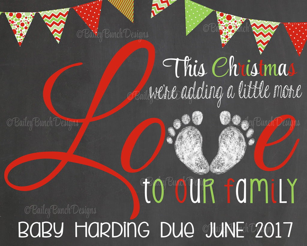 Pregnancy Reveal Announcement Chalkboard Sign, Christmas Pregnancy CLOVEP0520