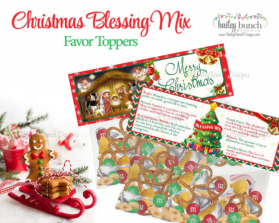 Christmas Blessing Mix Treat Bags, Christmas Toppers IDCHRISTBLESSMIX0520