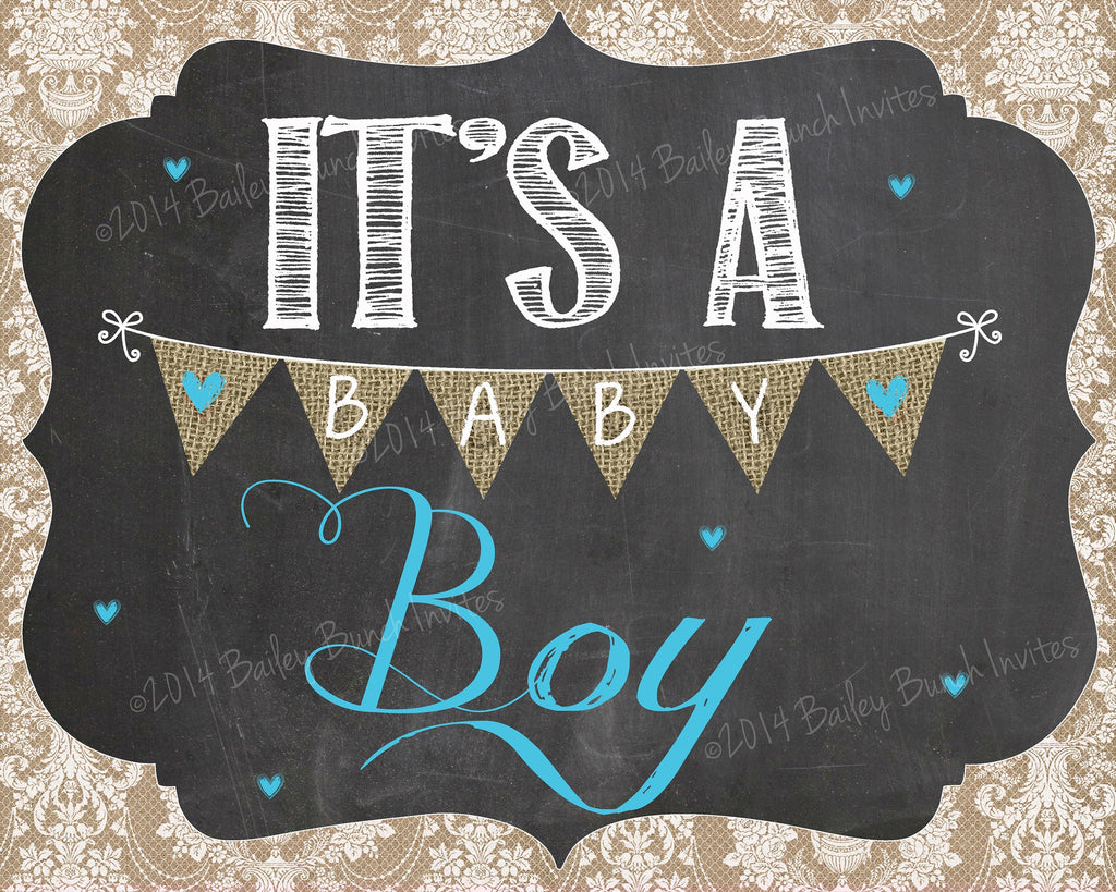 Shabby Chic Pregnancy GENDER REVEAL Chalkboard Signs - DOWNLOAD IDSHABGENDREV0520