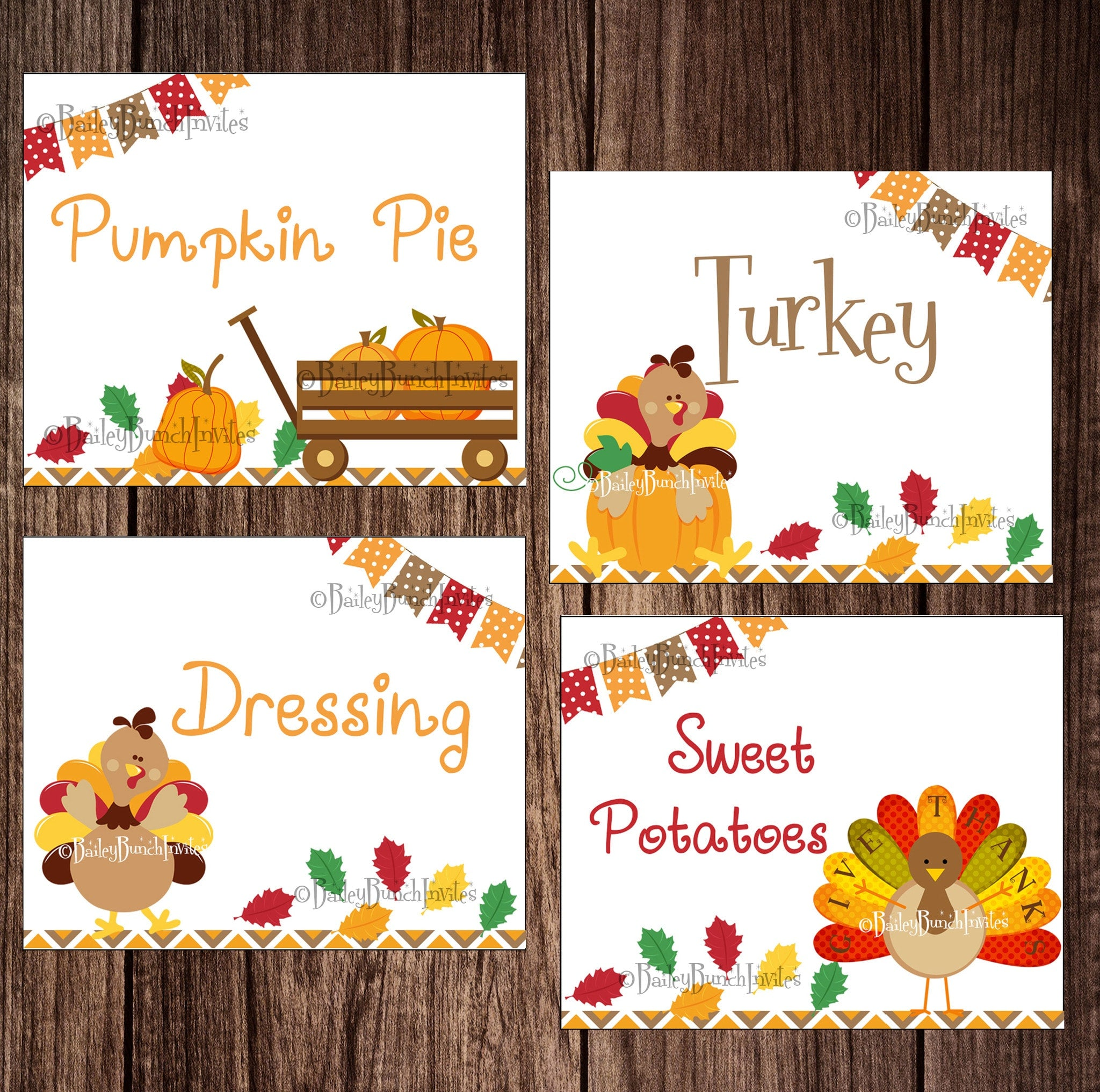 Thanksgiving Turkey Holiday Food Tents Place Cards Food Labels INSTANT DOWNLOAD IDTHANKTENT0520  sc 1 st  Bailey Bunch Designs & Thanksgiving Turkey Holiday Food Tents Place Cards Food Labels ...
