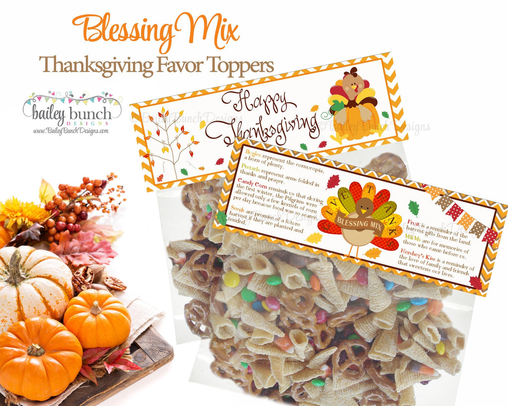 Thanksgiving Blessing Mix Treat Bags, Thanksgiving Toppers, Happy Thanksgiving IDTHANKSBLESSMIX0520