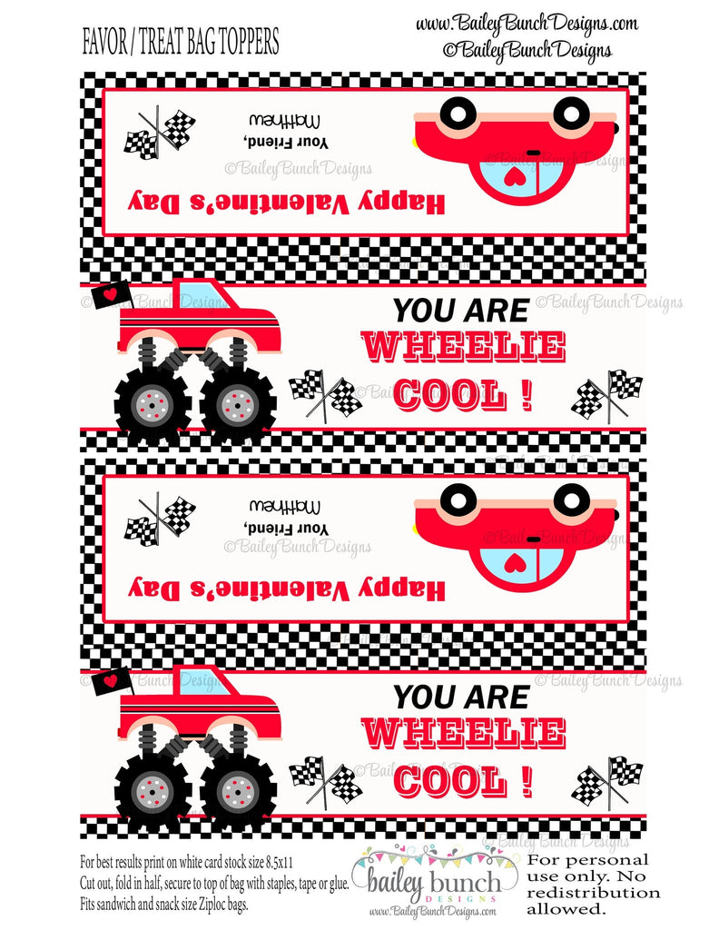 Wheelie Cool Car Treat Bag Toppers, Valentines VDAYCAR0520