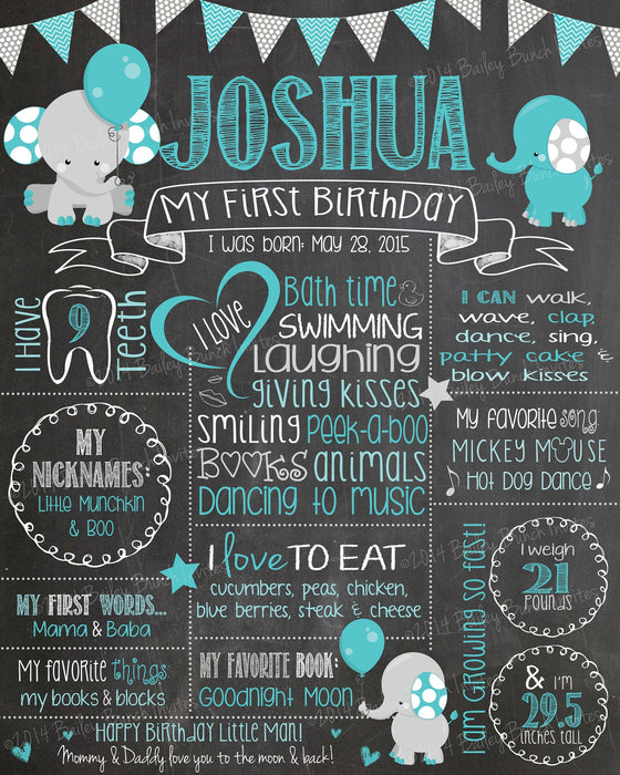 Elephant Birthday Birthday Chalkboard Poster, Boy and Girl ELECHALK0520