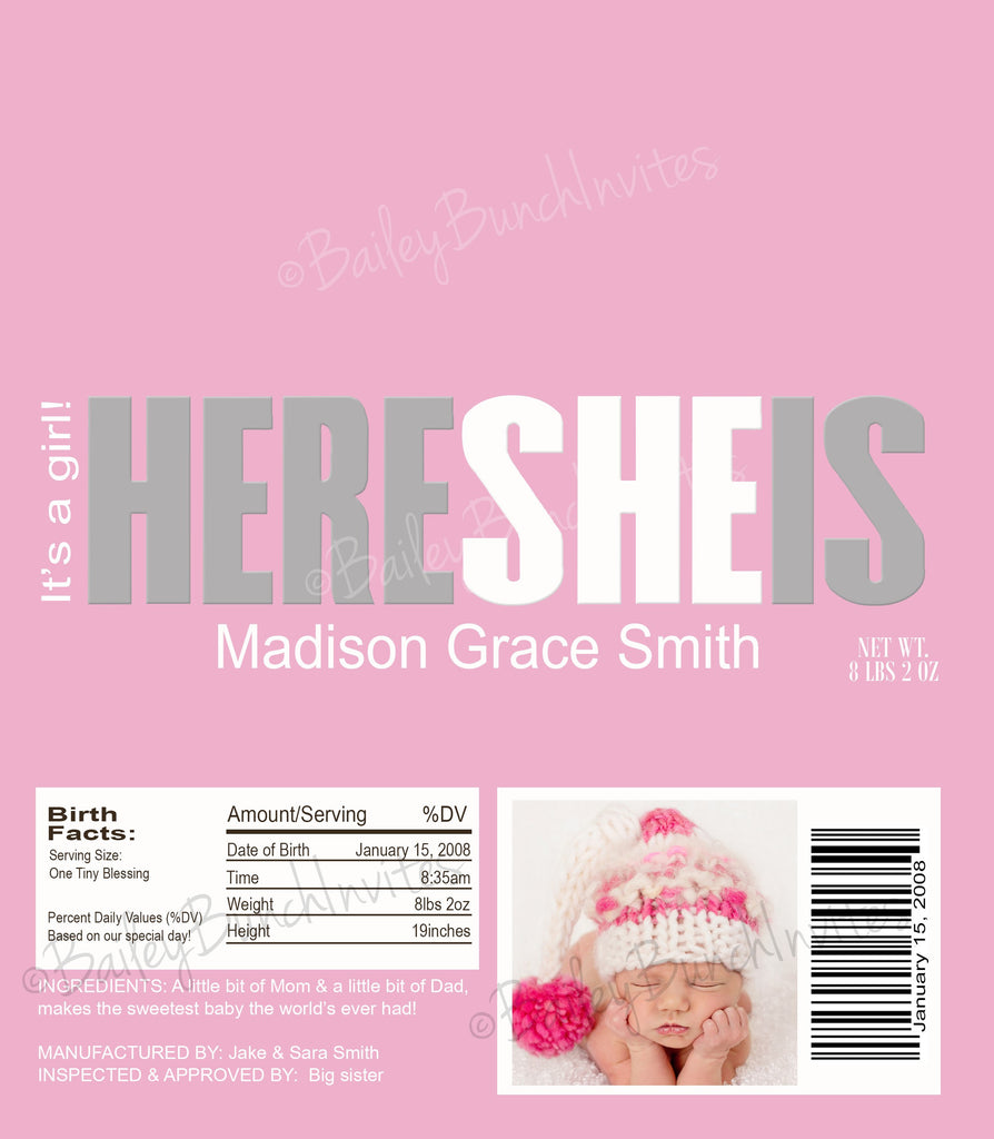 Birth Announcement Candy Wrappers - BABYWRAP0520