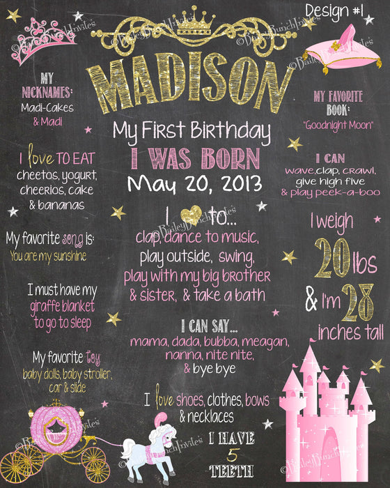 Princess Birthday Chalkboard, PRINCESSCHALK0520