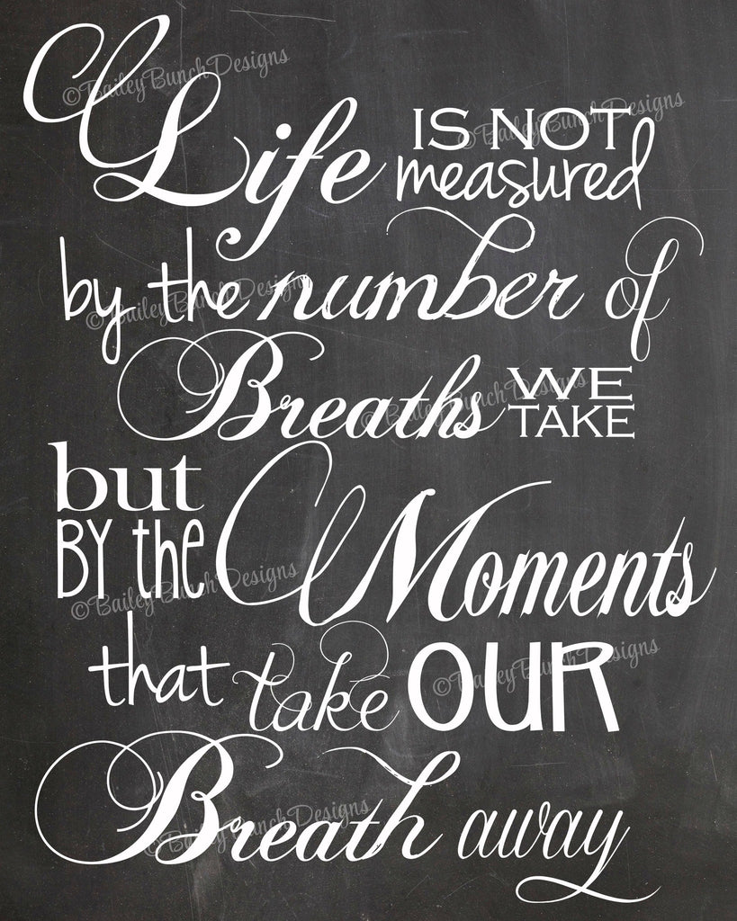Wall Art, Life's not measured, Home Decor - INSTANT DOWNLOAD IDLIFECLK0520