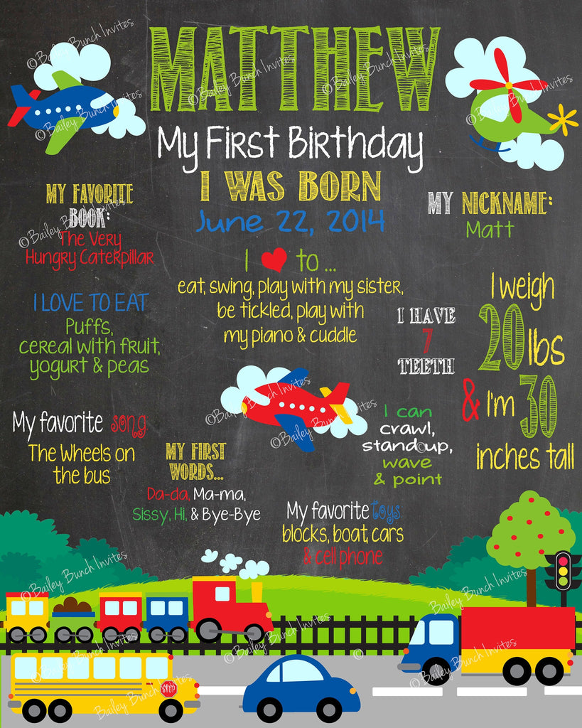 Transportation, Bus, Truck, Plane, Car Birthday Chalkboard, TRUCKSCHALK0520