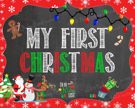 Baby's 1st Christmas Chalkboard Sign - INSTANT DOWNLOAD ID1STCHRISTCHALK0520