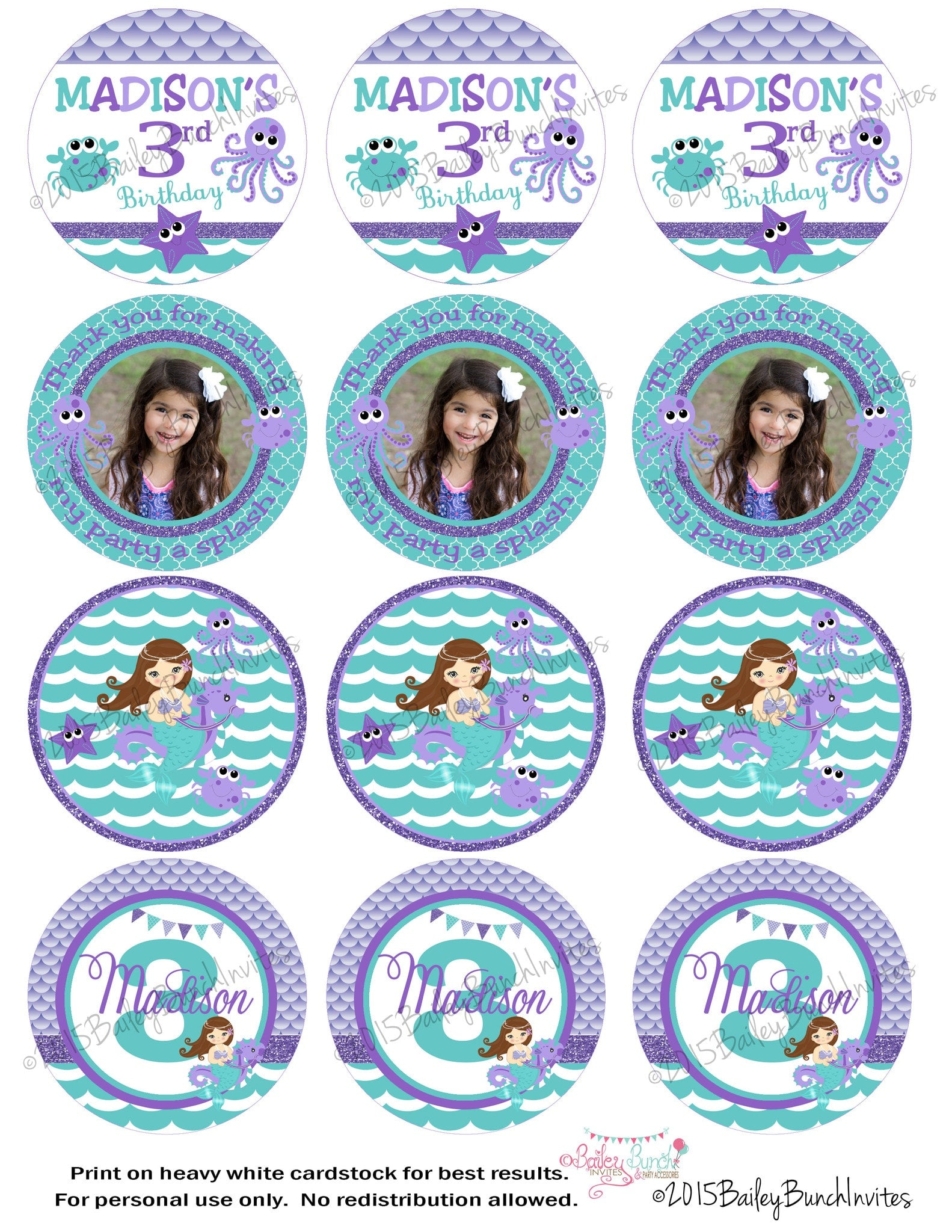 Mermaid birthday circle labels lollipop favor bag for Circle gift tag template