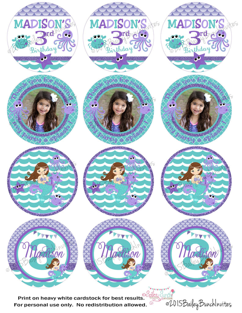 Mermaid Birthday Circle Labels, Lollipop, Favor Bag, Bubble Wand, Cupcake Toppers MERMAIDCRL0520