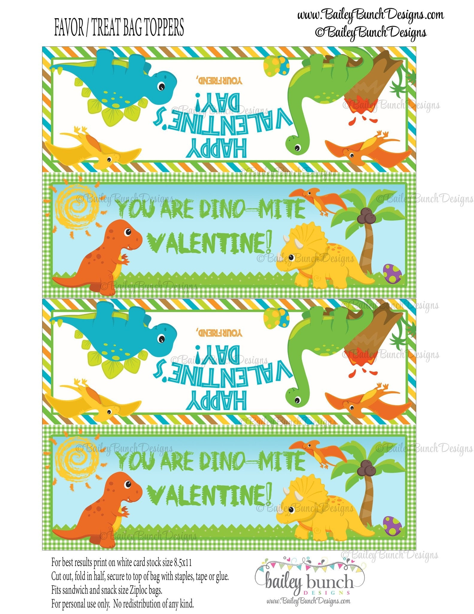 You are Dino-Mite Dinosaur Treat Bag Toppers, Valentines ...