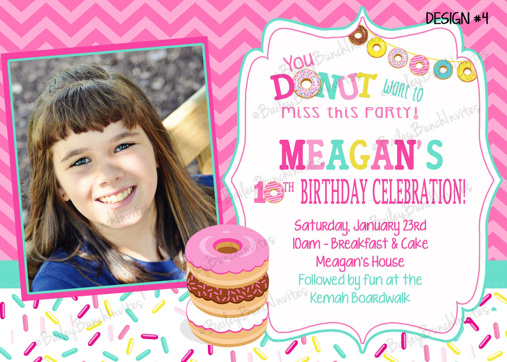 Donut, Sprinkles Birthday Invitations DONUTINVITE0520