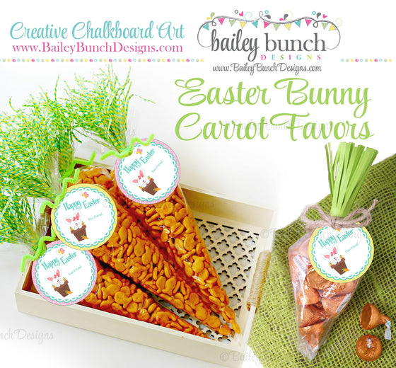 Easter Treat Labels, Easter Bunny Carrots, IDCARROT0520
