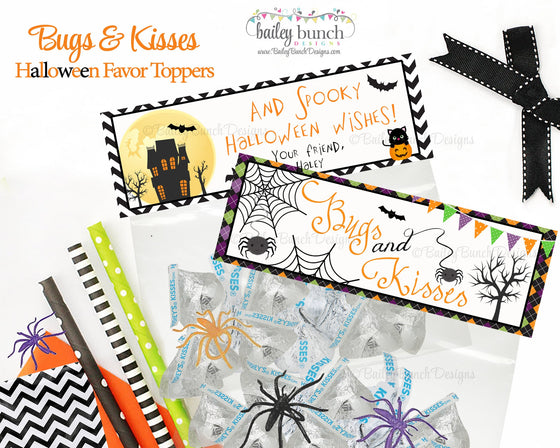 Halloween Bugs and Kisses Favor Toppers - PERSONALIZED - 2 DESIGNS!! BUGKISSFVR0520