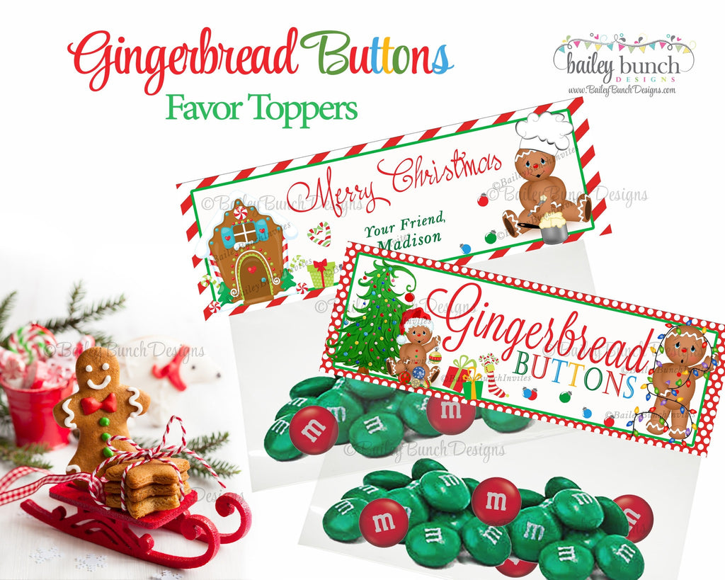 Christmas Gingerbread Buttons Treat Bags, Christmas Toppers GINGERBREAD0520