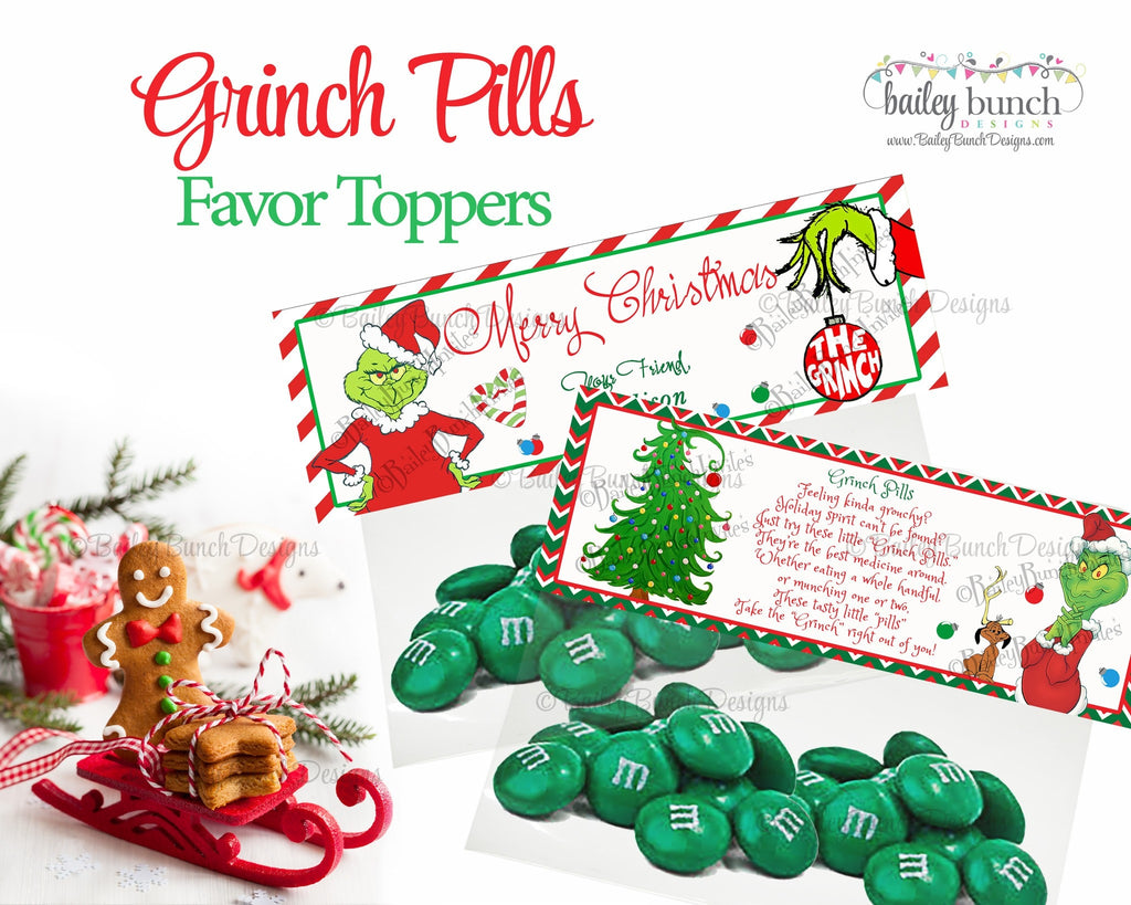 Grinch Pills Treat Bags, Christmas Toppers GRINCH0520