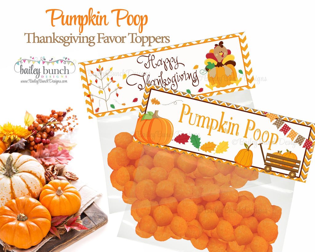 Thanksgiving Pumpkin Poop Treat Bags, Thanksgiving Toppers, Happy Thanksgiving IDPUMPPOOFVR0520