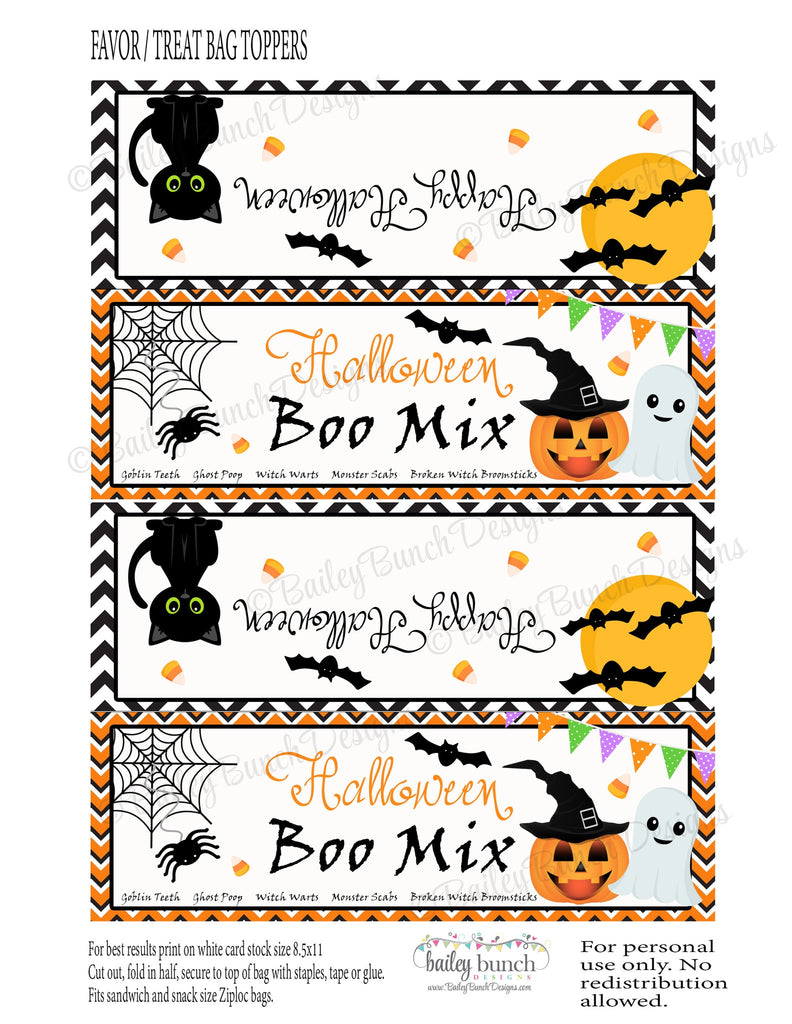 Halloween Boo Mix Favor Treat Bags - 2 DESIGNS!!  INSTANT DOWNLOAD IDBOOMIX0520