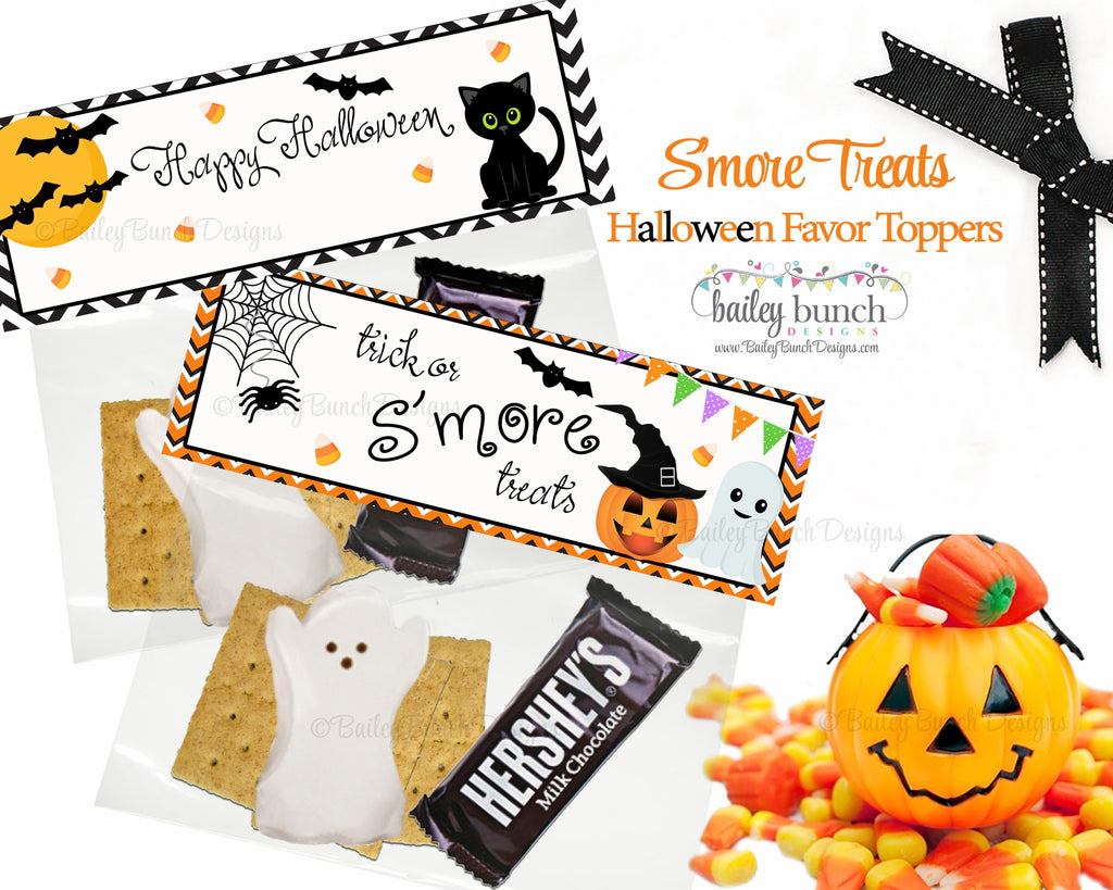 Halloween S'more Favor Treat Bags - 2 DESIGNS!!  INSTANT DOWNLOAD IDBOOSMORES0520