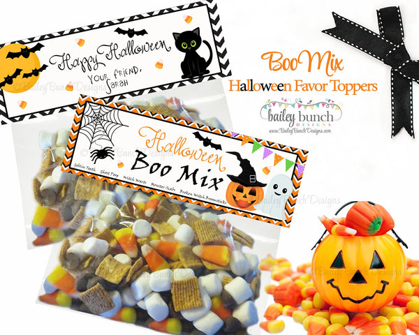 Halloween Boo Mix Favor Toppers Personalized 2 Designs