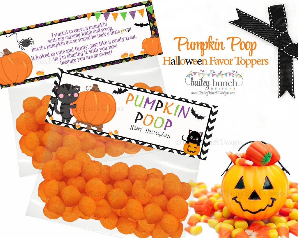 Halloween Pumpkin Poop Favor Treat Bags - 2 DESIGNS!!  INSTANT DOWNLOAD IDPUMPKINPOO0520