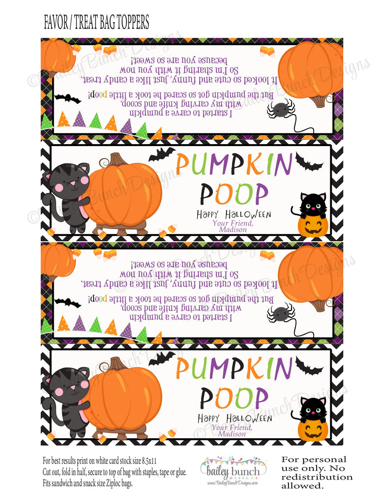 Halloween Pumpkin Poop Favor Toppers - PERSONALIZED - 2 DESIGNS!! PUMPOOFVR0520
