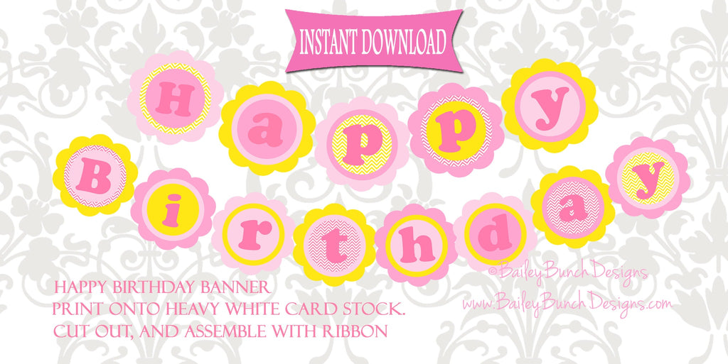 You are my Sunshine XL Happy Birthday Banner - PINK & YELLOW - INSTANT DOWNLOAD IDSUNHP0520