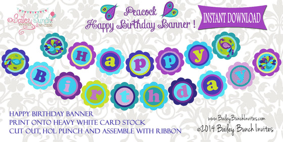 Peacock XL Deluxe HAPPY BIRTHDAY BANNER - INSTANT DOWNLOAD IDPEACOCKHBBANNER0520