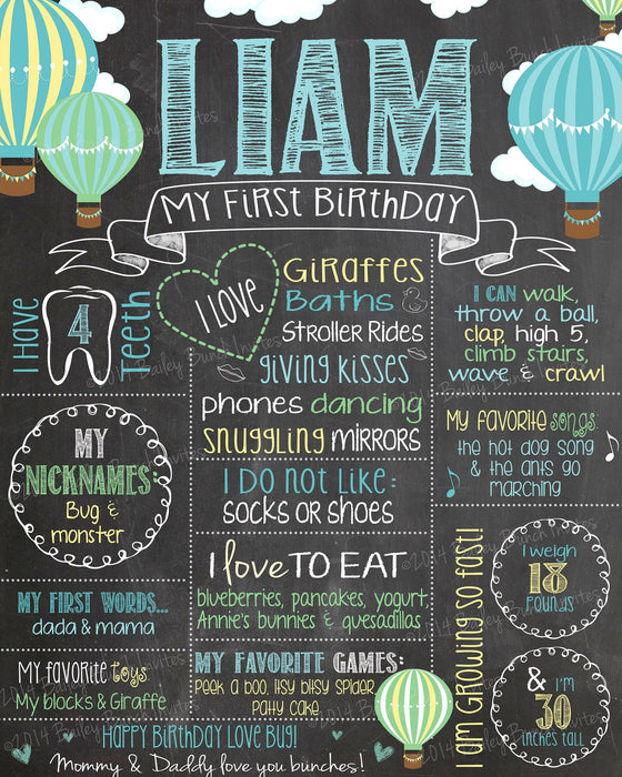 Hot Air Balloon Birthday Chalkboard Poster Sign - Lots of Colors HOTAIRBALLOON02