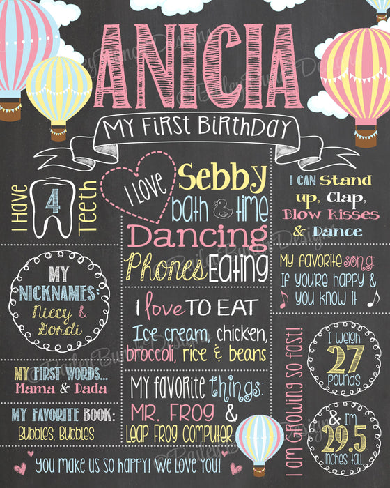 Hot Air Balloon Birthday Chalkboard Poster Sign - Lots of Colors HOTAIRCHALK0520