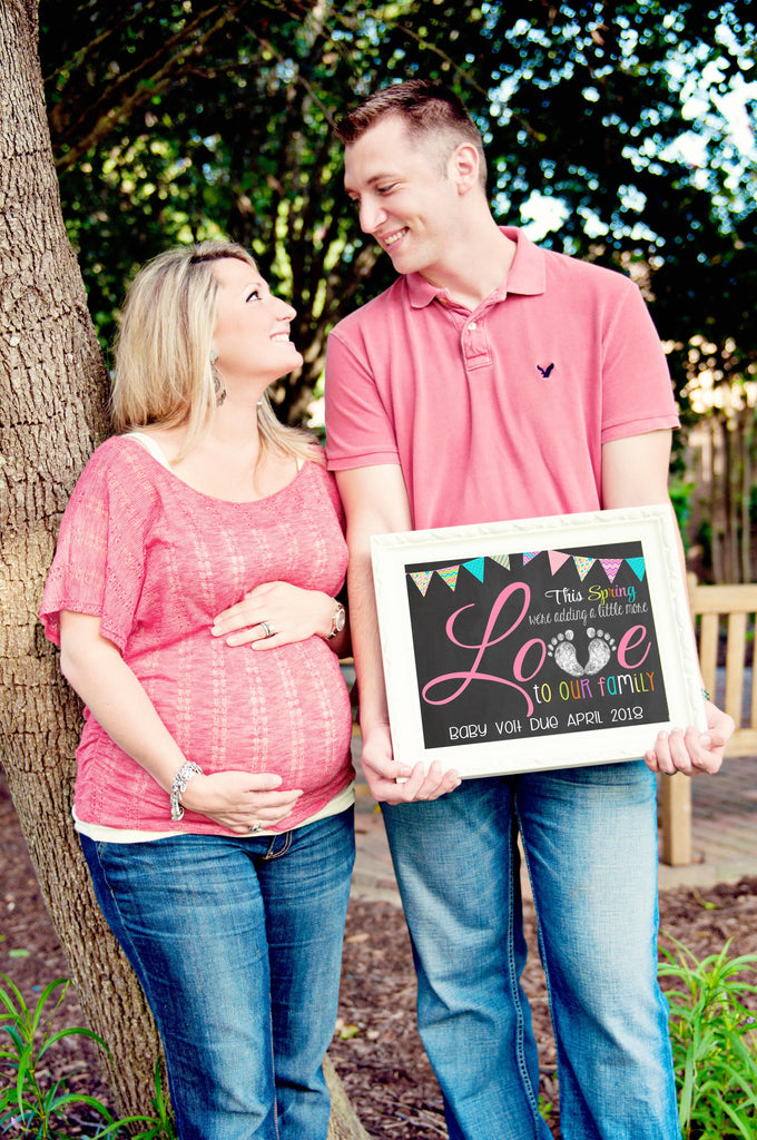Adding more LOVE Spring Pregnancy Reveal Announcement Chalkboard Sign, SPRINGLOVECHALK0520