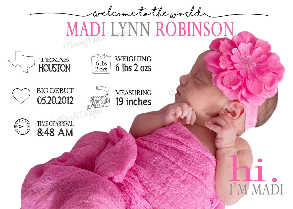All About Me Infographic Birth Announcement INFOGRAPHICBIRTH0520