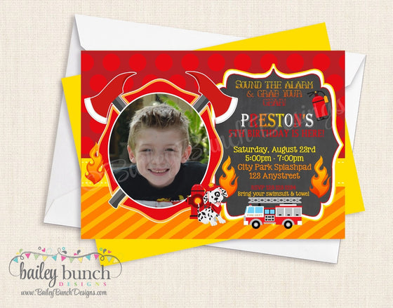 Fireman, Fire Truck, Fire Birthday Invitations FIREINVITE0520