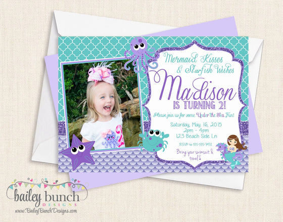 Mermaid Birthday Invitations MERMAIDINVITE0520