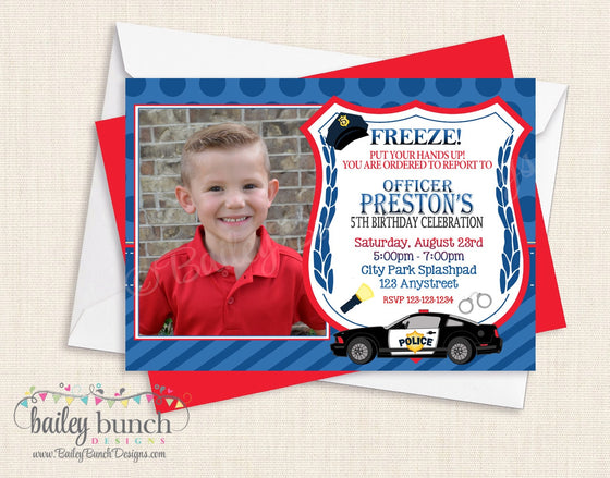 Custom Police, Policeman Birthday Invitations CUSTOMPOLICEINVITE0520