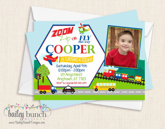 Transportation Birthday Invitations TRUCKSINVITE0520