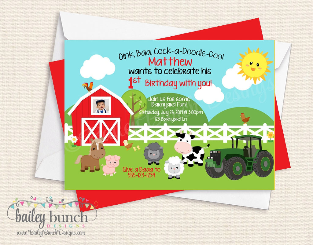 Farm, Barnyard, Tractor, Cowboy, Cowgirl Birthday Invitations FARMINVITE0520