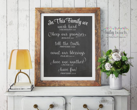 Scripture Wall Art, In this Family, Home Decor - INSTANT DOWNLOAD IDFAMCLK0520