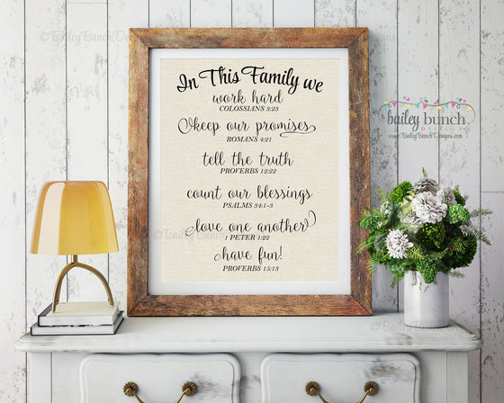 Scripture Wall Art, In this Family, Home Decor - INSTANT DOWNLOAD IDFAM0520