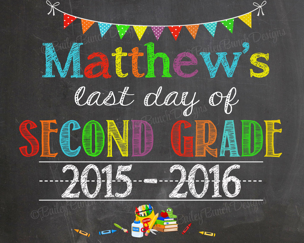 First Day of School Chalkboard, Last Day of School, ANY GRADE, any year SCHOOL2CHALK0520