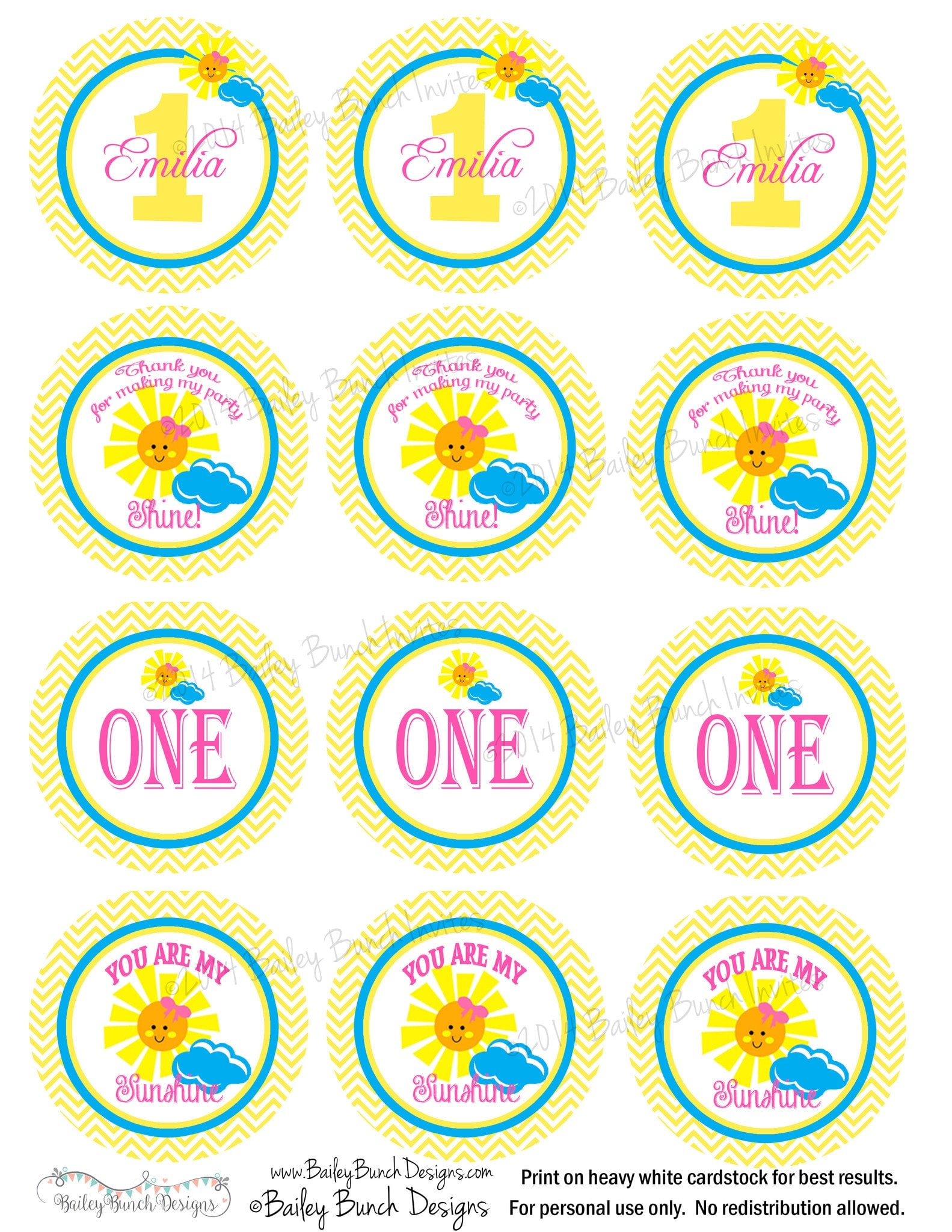 You are my sunshine birthday cupcake toppers