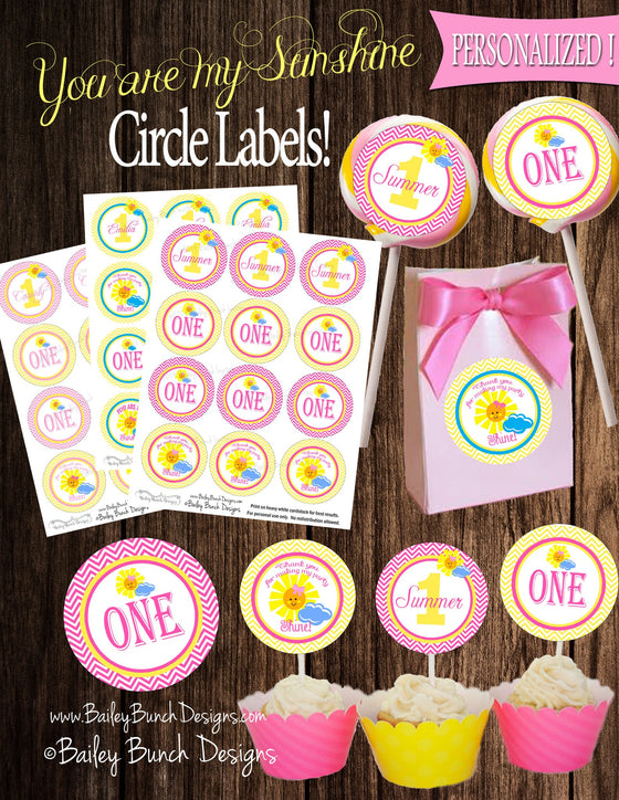 You are my Sunshine Birthday Circle Labels, Lollipop, Favors, Cupcake Toppers SUNCRL0520