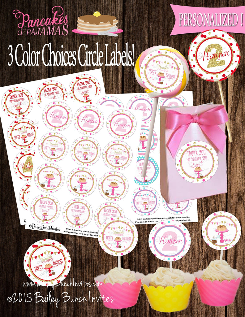 Pancakes and Pajamas Birthday Circle Labels, Lollipop, Favor Bag, Cupcake Toppers PCAKESCRL0520