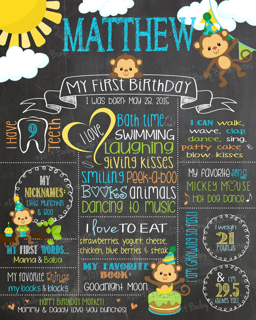 Little Monkey Birthday Birthday Chalkboard Poster, BLUE, Boy and Girl MONKEYBCHALK0520