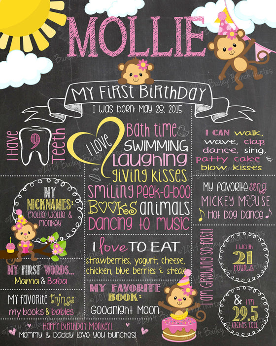 Little Monkey Birthday Birthday Chalkboard Poster, Pink, Boy and Girl MONKEYPCHALK0520