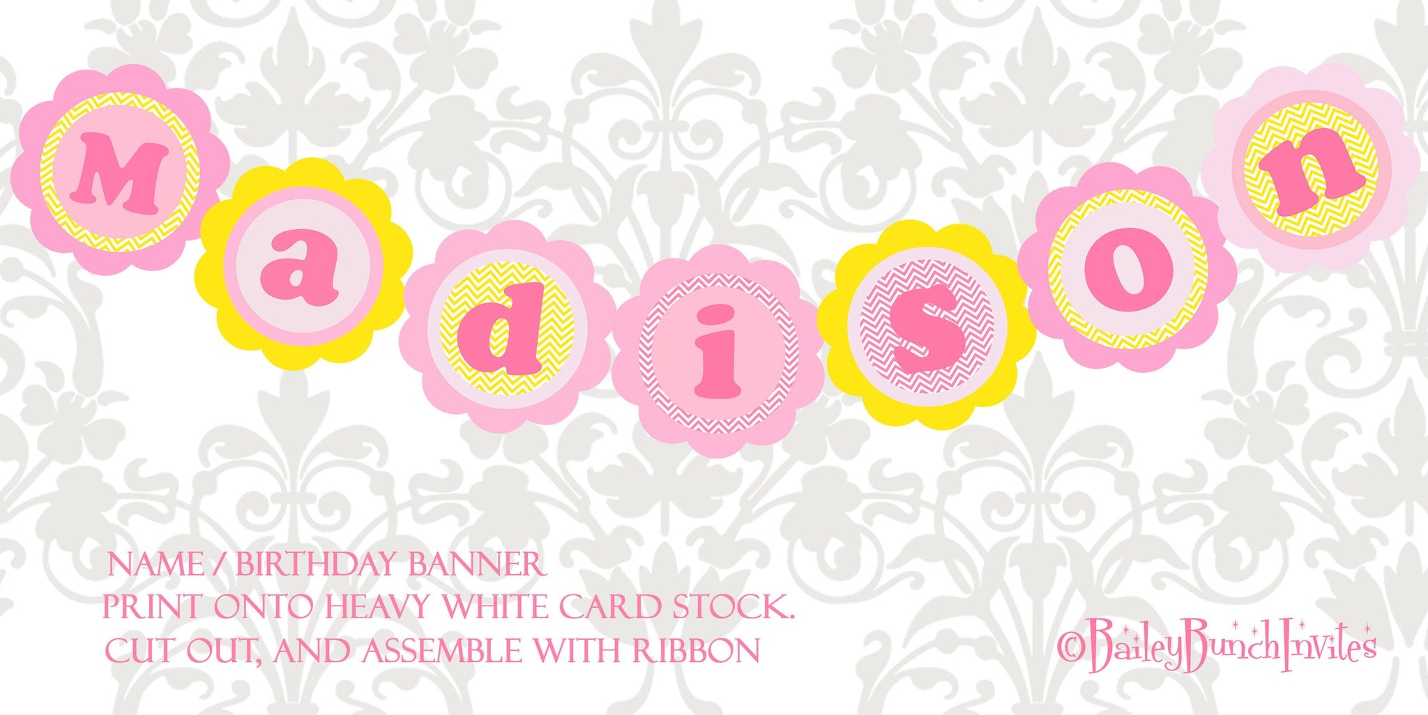 you are my sunshine xl birthday name banner pink yellow